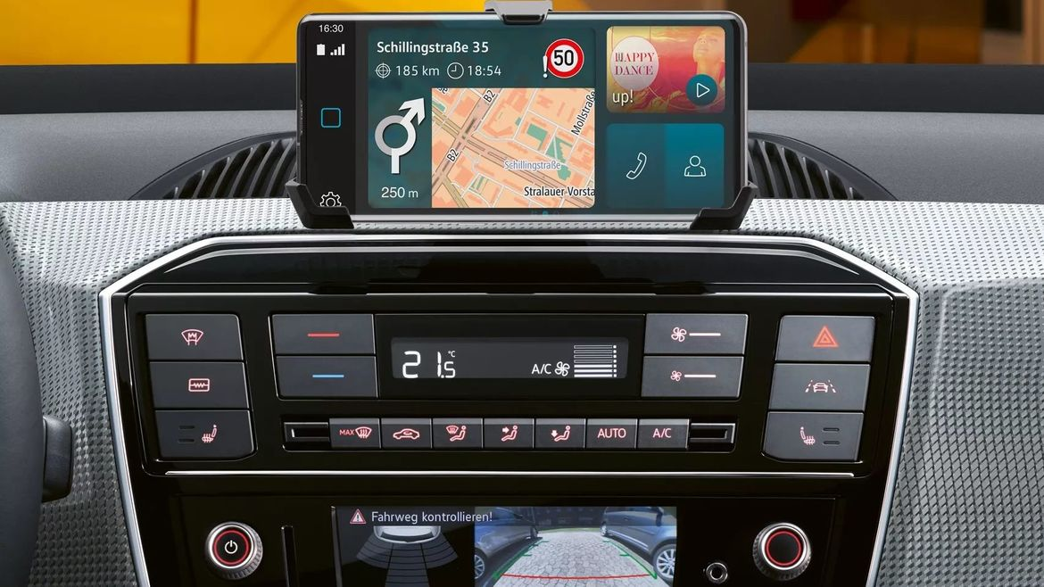 vw e-up! Detailaufnahme maps + more dock
